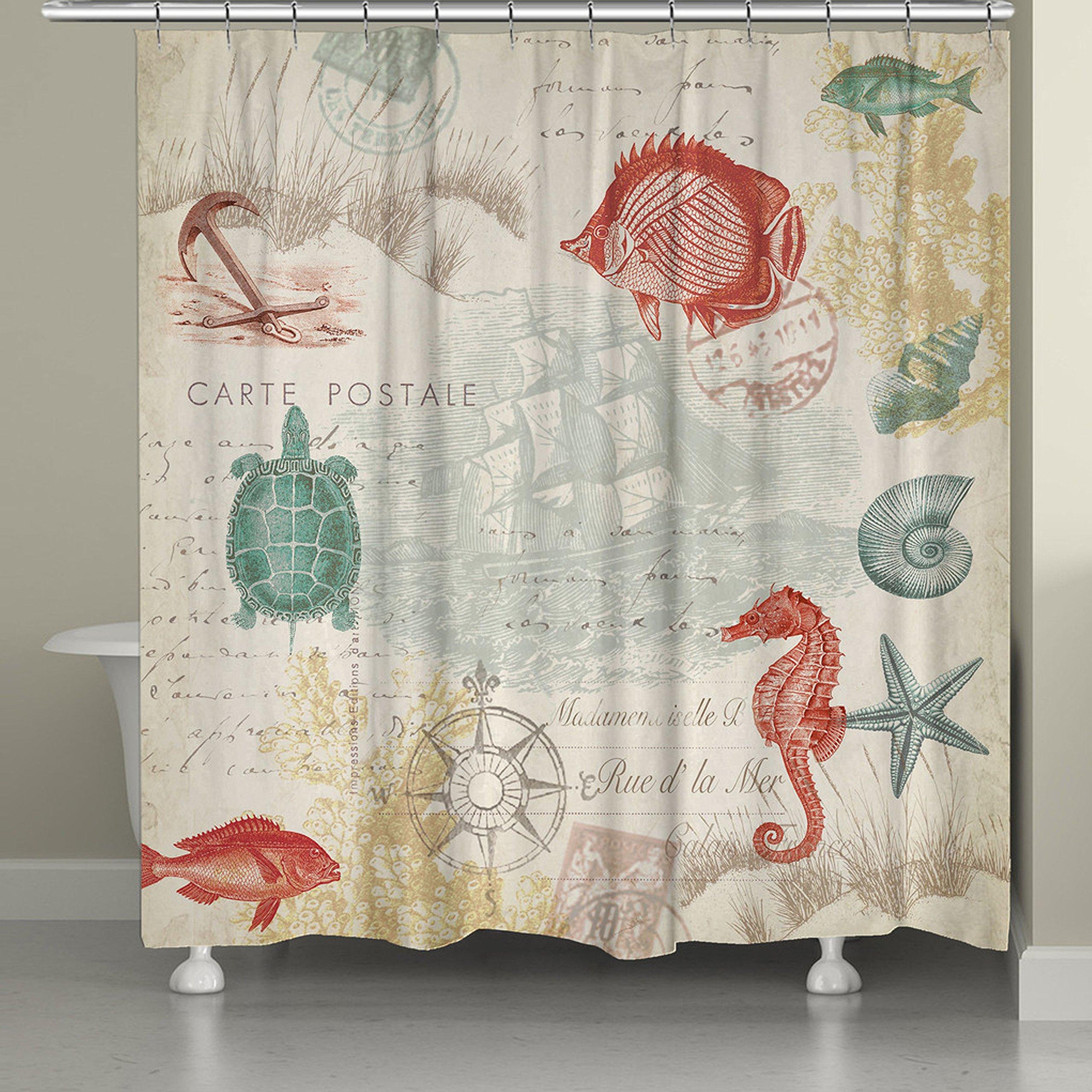 1 Piece Girls 71''x74'' Beach Maritime Themed Shower Curtain, Ocean Pattern Starfish Shells Seahorse Pattern, Vintage Adventurer Seascape Pirate Boat Anchor Seaside Art Print Print, Abstract Colors