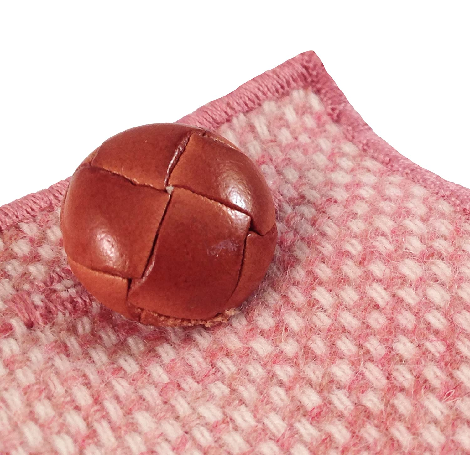 Blush Pink and Cream Wool w// Brown Button Mens Pocket Square The Detailed Male