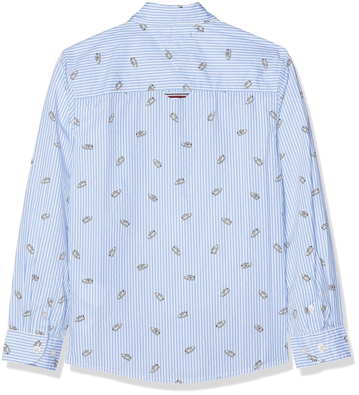 Tommy Hilfiger Allover TH Oxford Shirt L//S Maglia a Maniche Lunghe Bambino
