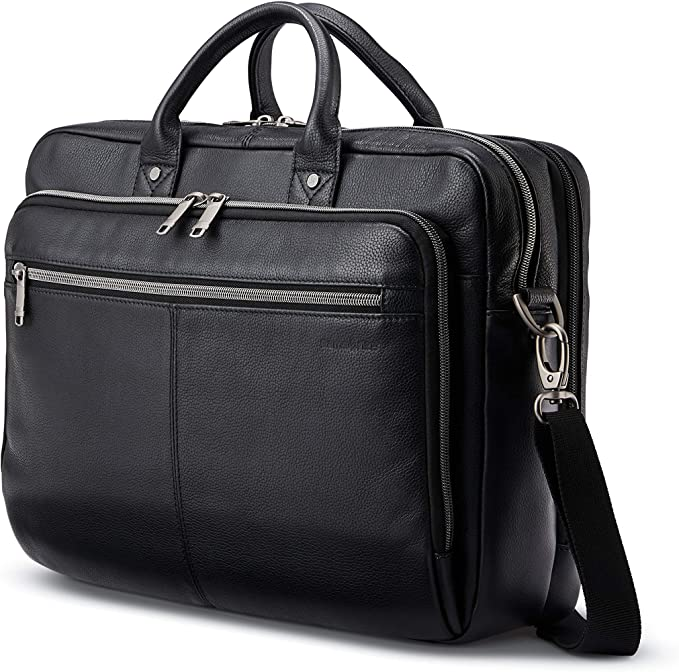 Samsonite Classic Leather Toploader Briefcase, Black, One Size   Amazon