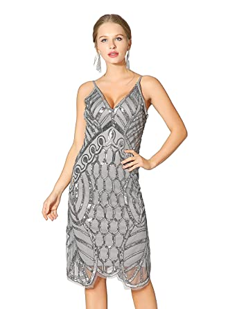 4b2bd9ef7fd Metme Women s Deep V Neck Sexy Straps Party Dress Vintage Sequin Evening  Prom Club Gray Silver