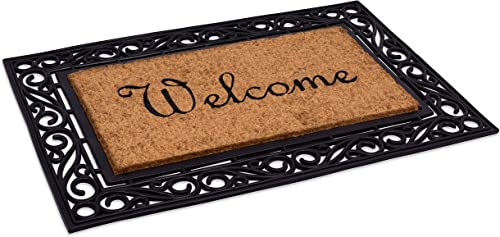 BirdRock Home Classic Welcome Brush Coir Doormat with Black Rubber Scroll Border, 24 x 36 Inch – Elegant Design