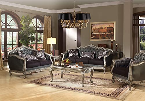 ACME Chantelle Antique Platinum Loveseat with 3 Pillows