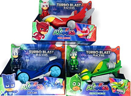 PJ Masks Turbo Blast Racers 3 Mobile Vehicles Bundle CAT CAR, OWL GLIDER and GEKKO