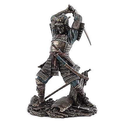 new arrival 2e479 08440 Amazon.com  Top Collection Japanese Bushido Samurai Warrior Statue in Cold  Cast Bronze with Martial Arts Sword- 9-Inch Figurine  Home   Kitchen