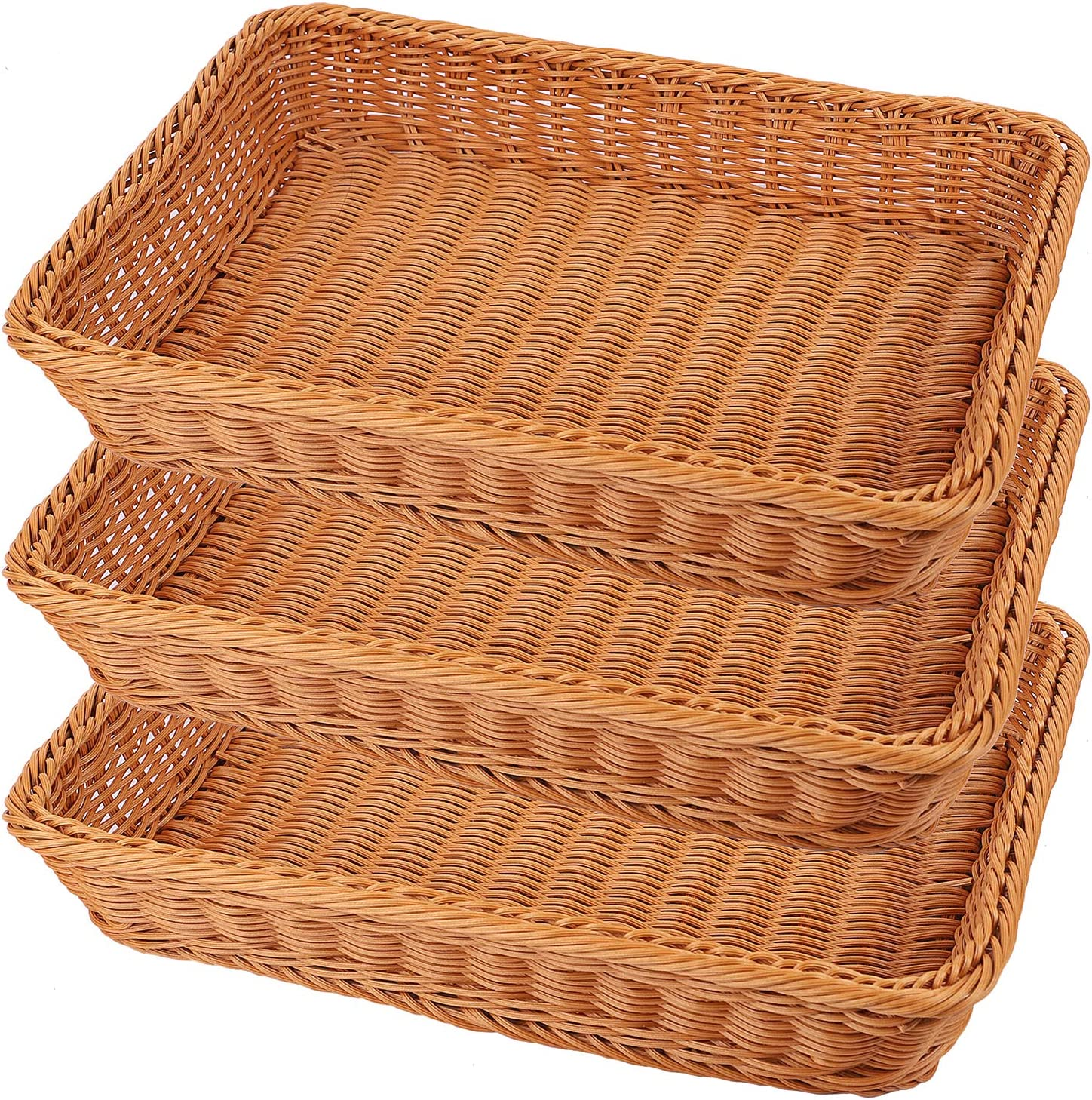 KEILEOHO 3 Packs 16 Inch Poly Wicker Bread Baskets, Handmade Woven Pantry Organizer, Tabletop Food Serving Baskets for Fruits, Vegetables and Snacks, Restaurant, Hotel Serving, Brown