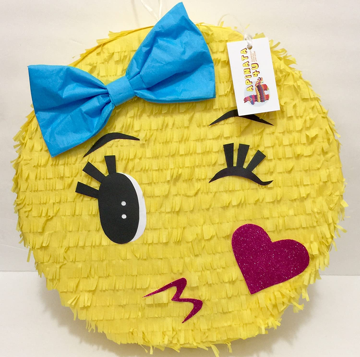 Blue Toddler Girl Emoji Pinata Winking