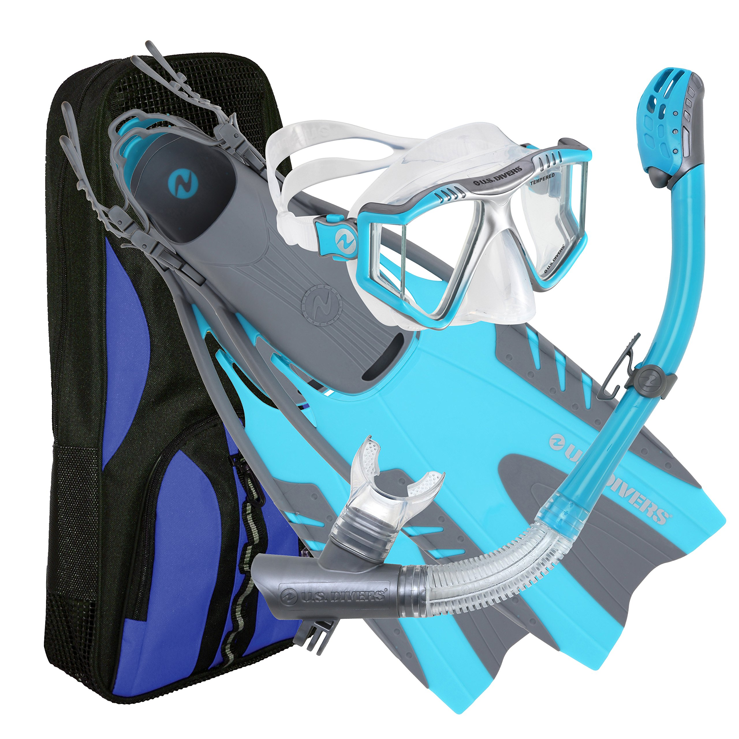 U.S. Divers Lux Mask Fins Snorkel Set Compatible with GoPro, Aqua, Small/Medium by U.S. Divers