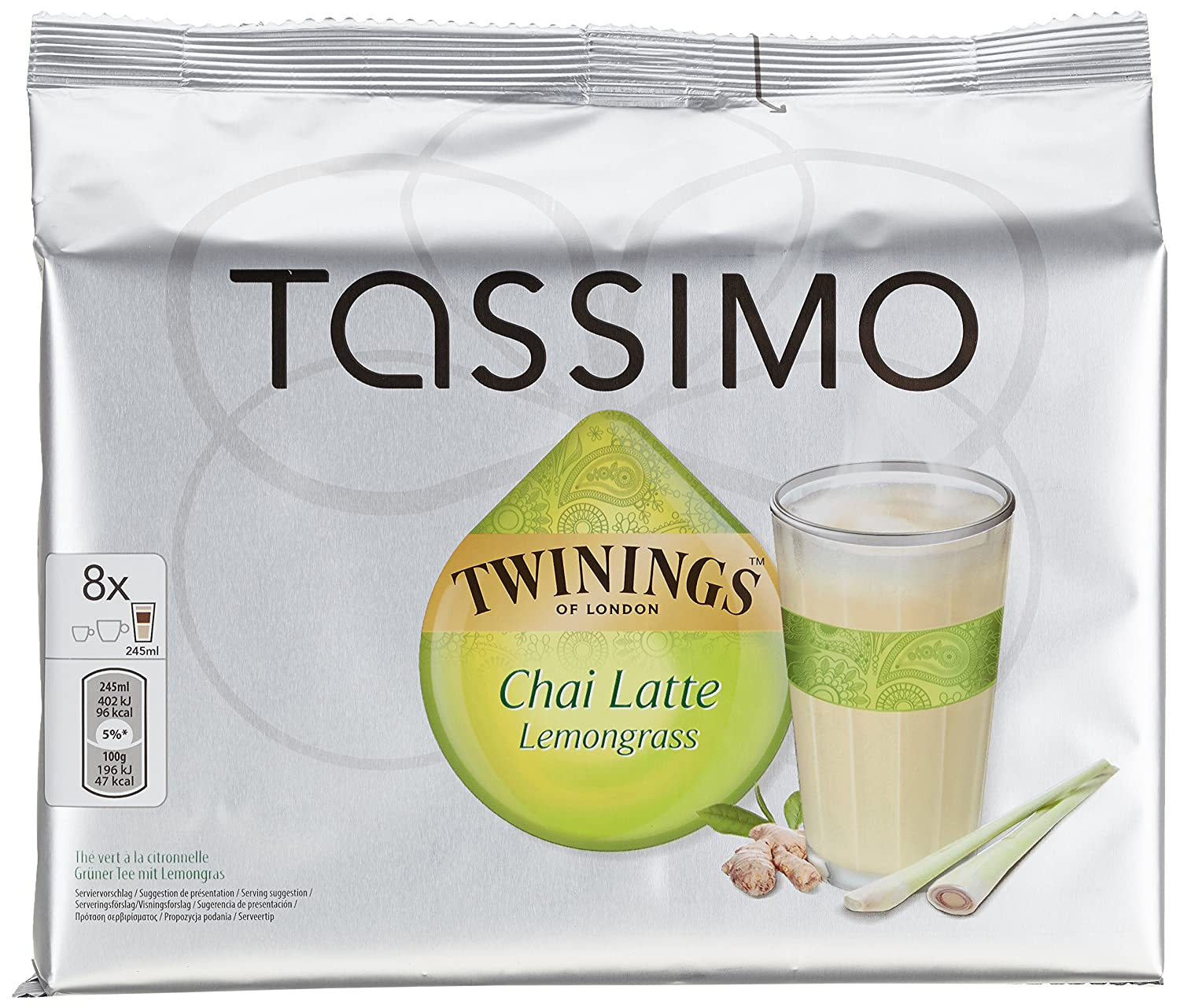 Amazon.com : Tassimo Chai Latte Lemongrass, 5er Pack (5 x 8 Portionen) : Grocery & Gourmet Food