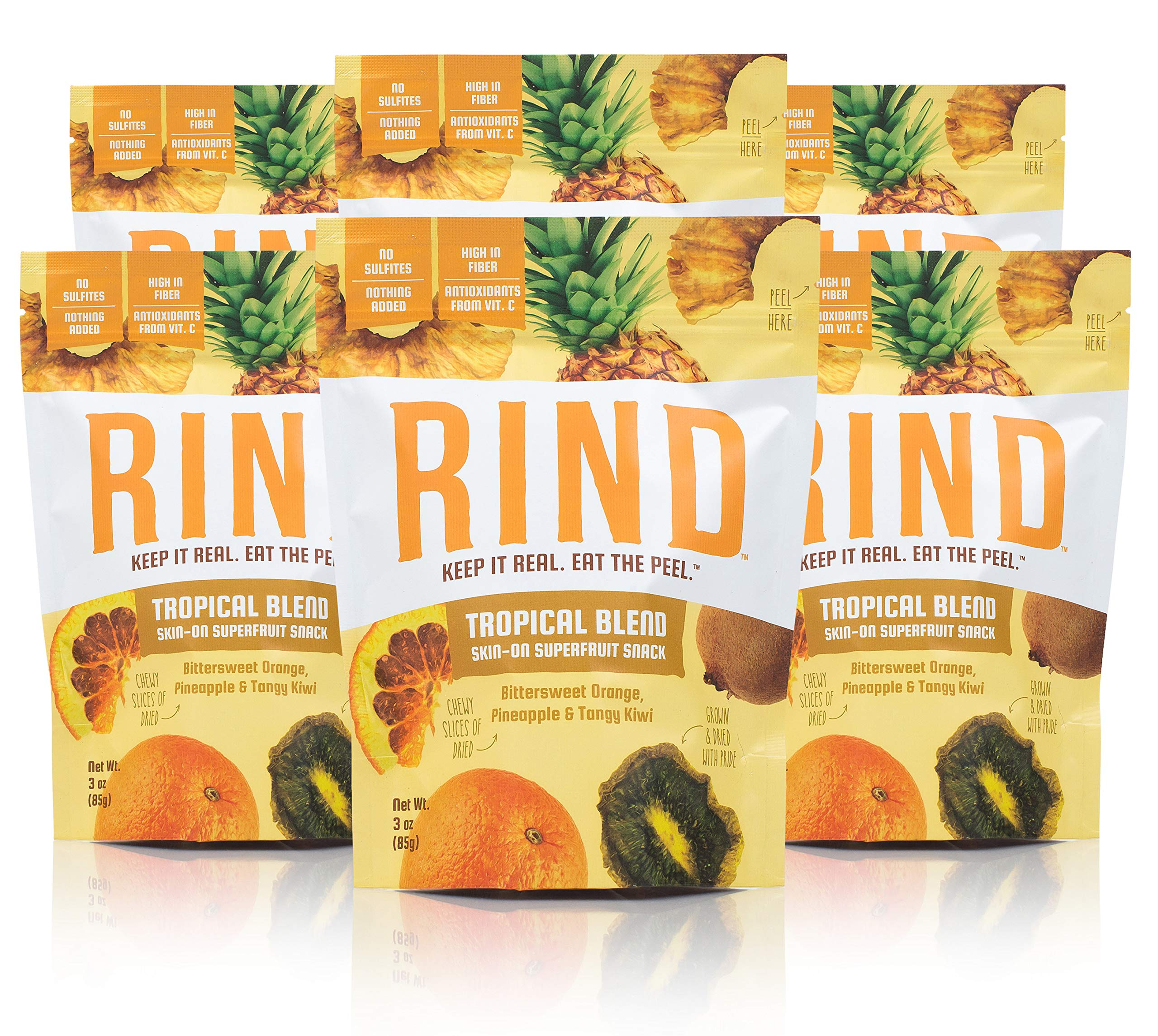 RIND Snacks Tropical Blend Sun-Dried Skin-On Superfruit Snack, Bittersweet Orange, Pineapple, and Tangy Kiwi, High Fiber, No Sulfites, Antioxidants from Vitamin C, Gluten-Free, 3oz Pouch, Pack of 6 by RIND Snacks