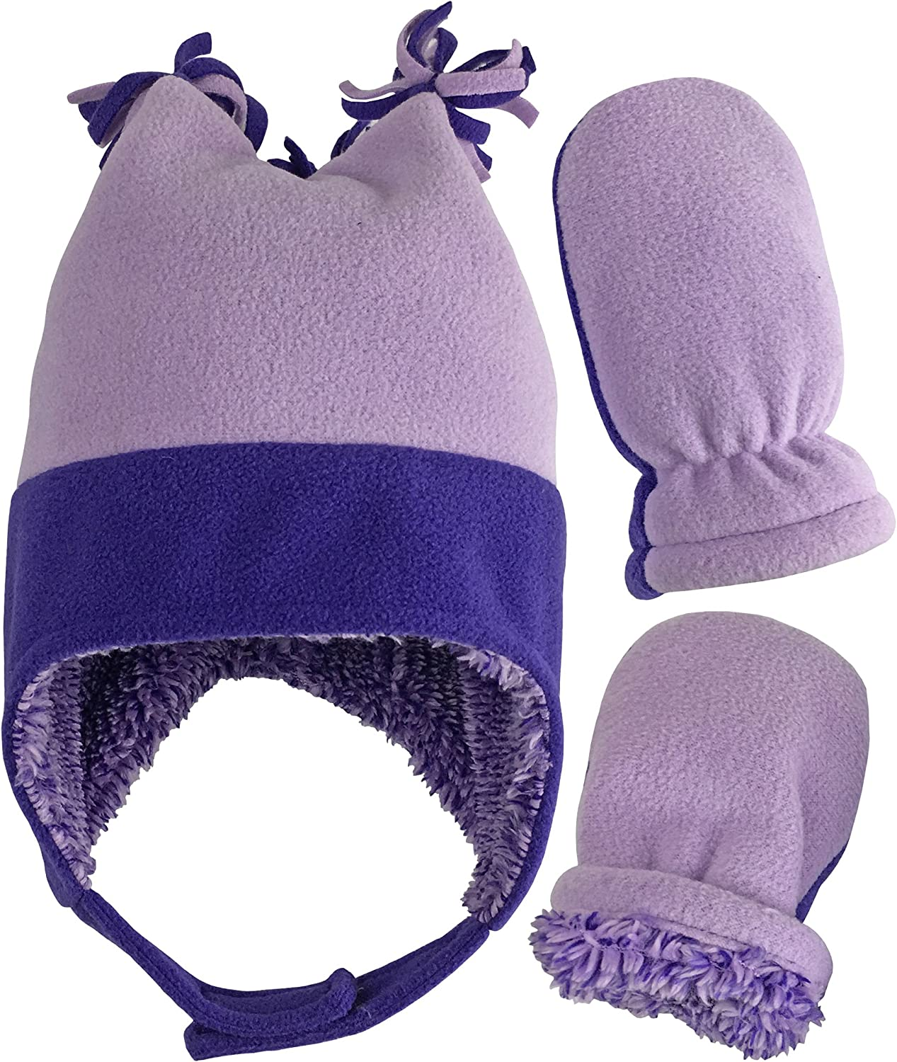 NIce Caps Little Girls and Baby Sherpa Lined Warm Fleece Hat /& Mitten Winter Set