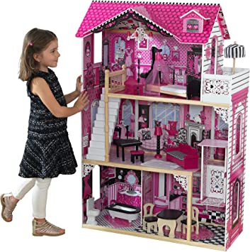 Oferta amazon: KidKraft- Amelia Casa de muñecas de madera con muebles y accesorios incluidos, 3 pisos, para muñecas de 30 cm , Color Multicolor (65093)