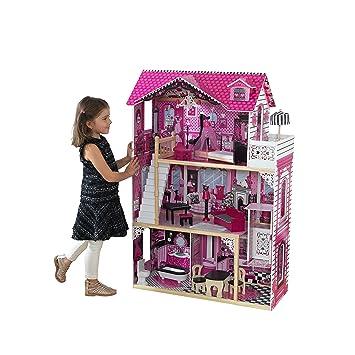 aliexpress latest best online KidKraft 65093 Maison de poupées en bois Amelia incluant accessoires et  mobilier, 3 étages de jeu pour poupées 30 cm