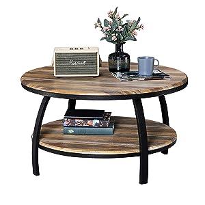 GreenForest – Coffee Table Industrial Wooden Design Metal Legs for Living Room, Oak
