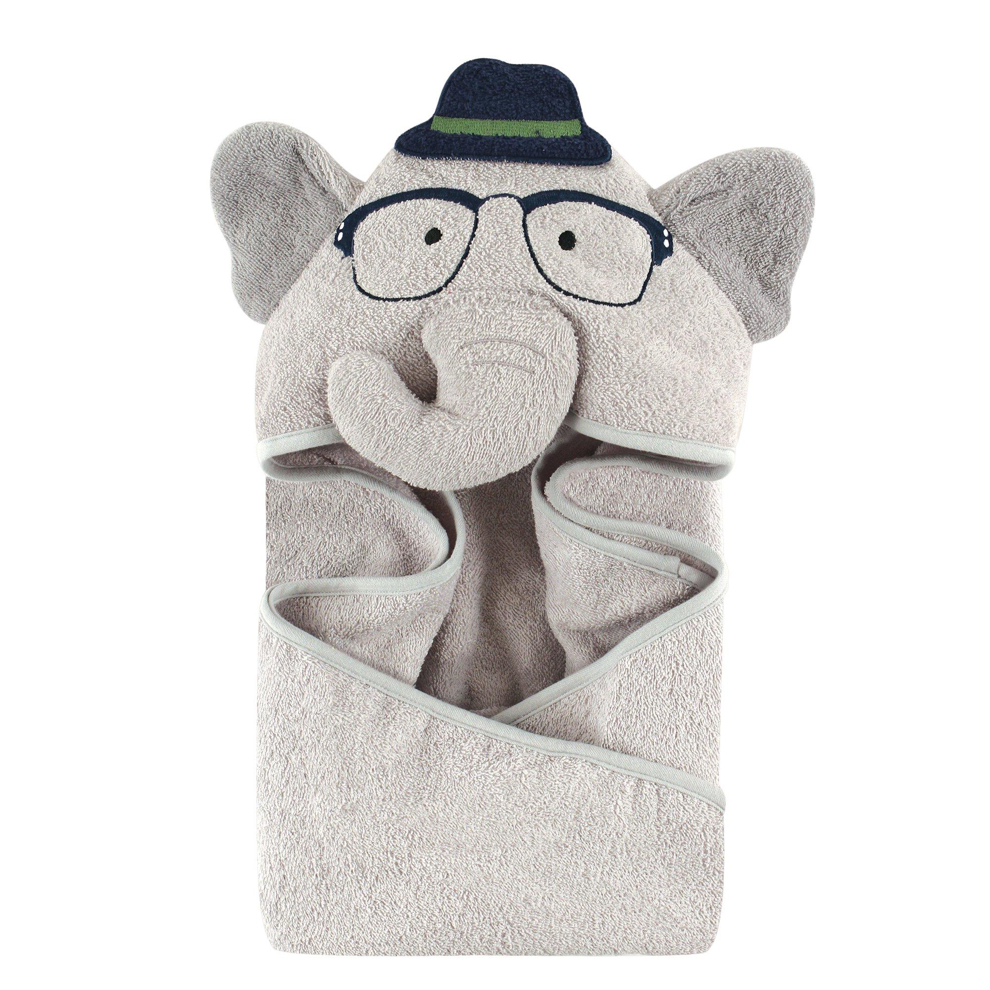 Hudson Baby Animal Face Hooded Towel for Boys, Smart Elephant