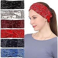 Folora 6 szt. opaska na głowę Paisley dla kobiet, skręcony węzeł turban szalik na głowę z motywem bohemia kwiatowy…