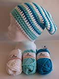 my boshi Häkelset Mütze weiß, meerblau, türkis wie abgebildet m. 150g myboshi Lara's Creations Anleitung (Set 1: Wolle + Label)