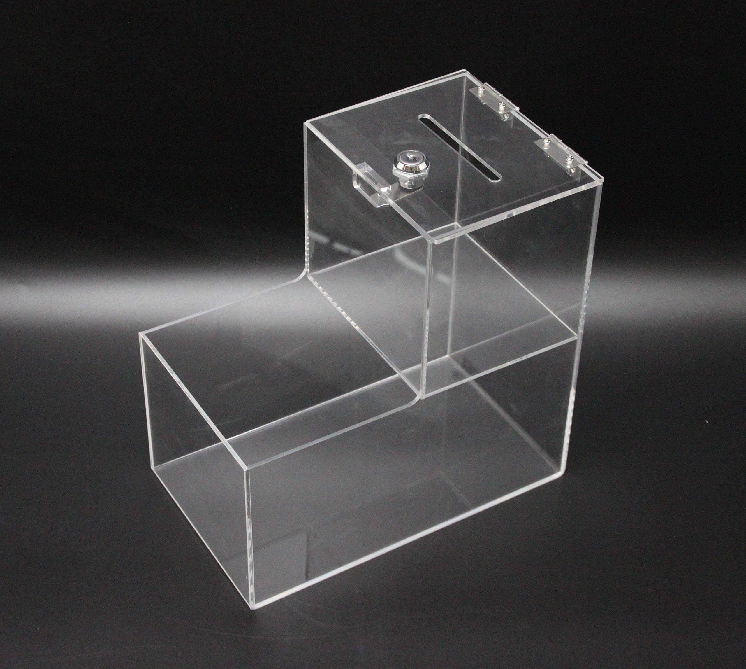 FixtureDisplays 6x10x10'' Locking Acrylic Fundraising Donation Coin Box Container with Cam Lock + Product Compartment 15944