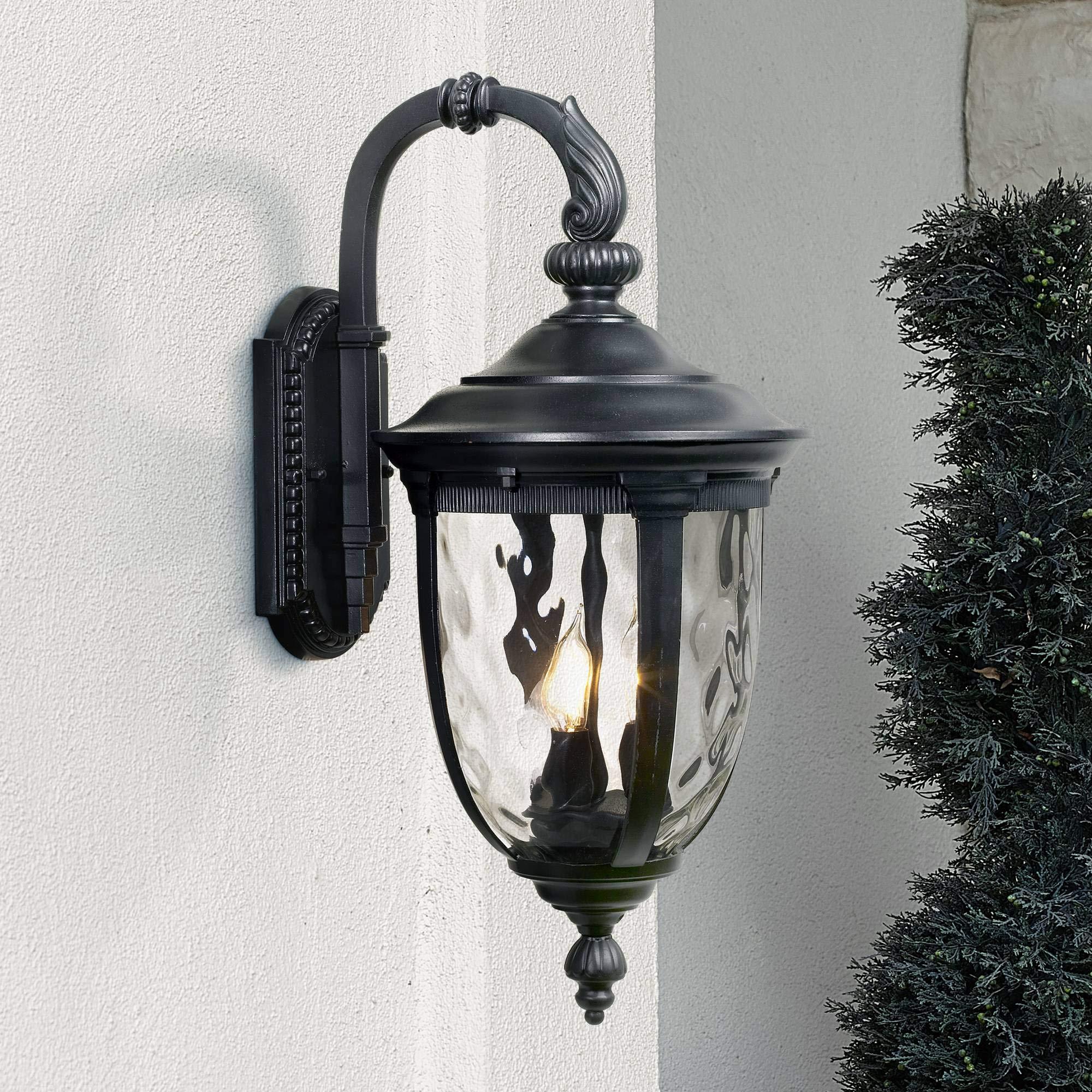 Bellagio Outdoor Wall Light Fixture Textured Black 20 1/2'' Hammered Glass Exterior House Patio Porch - John Timberland