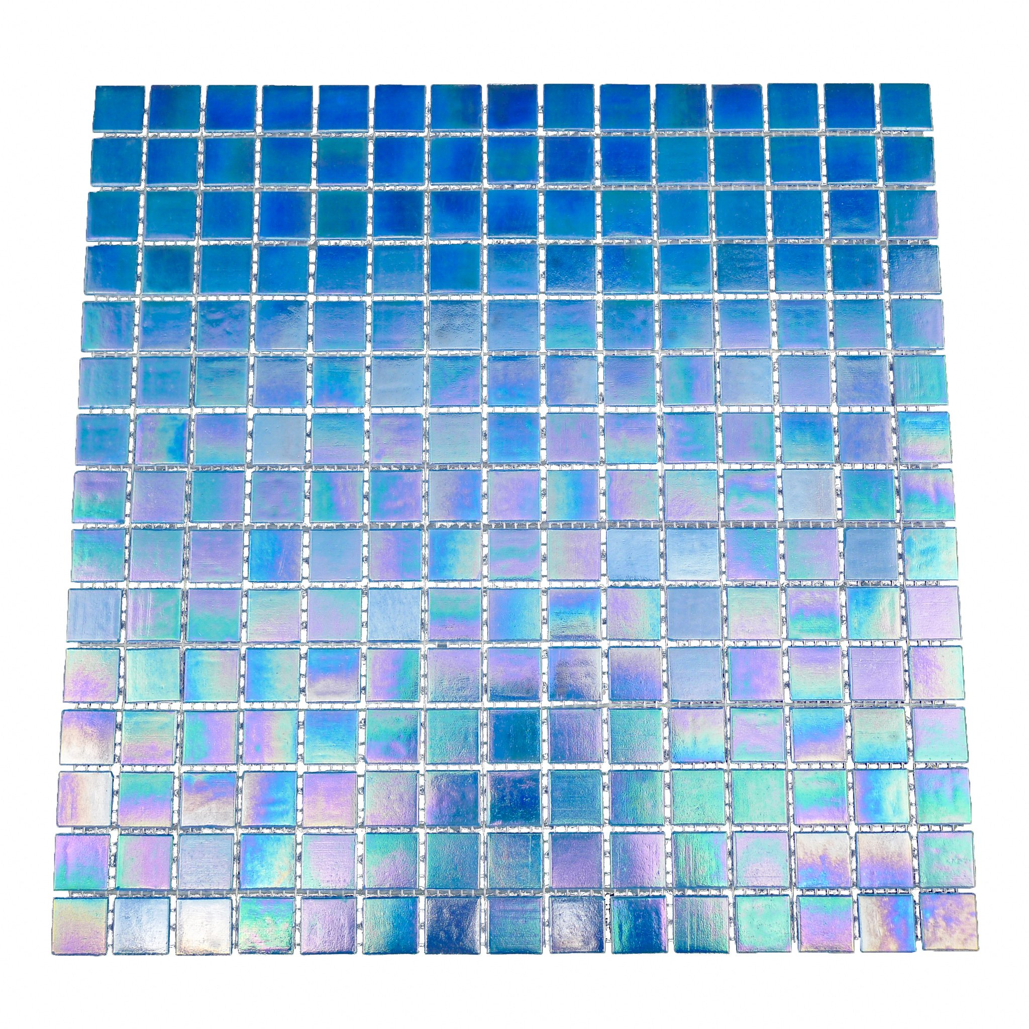 URBN Contemporary Deep Ocean Blue Iridescent Glass Mosaic Tile for Kitchen and Bath - One Box of 20 Sheets (23 SQ FT)