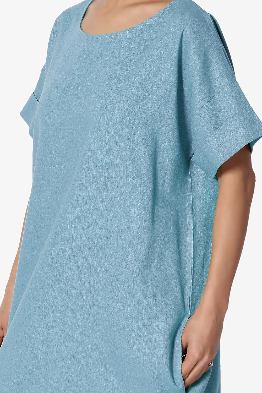 bc0fb370a4f TheMogan Drop Shoulder Short Sleeve Linen Pocket Oversized Shift Midi Dress  at Amazon Women s Clothing store