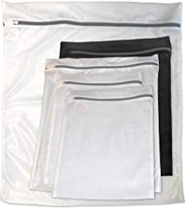 InsideSmarts Set of 5 Wash Bags: Jumbo (1 White), Large (1 Black & 1 White) and Medium (2 White)