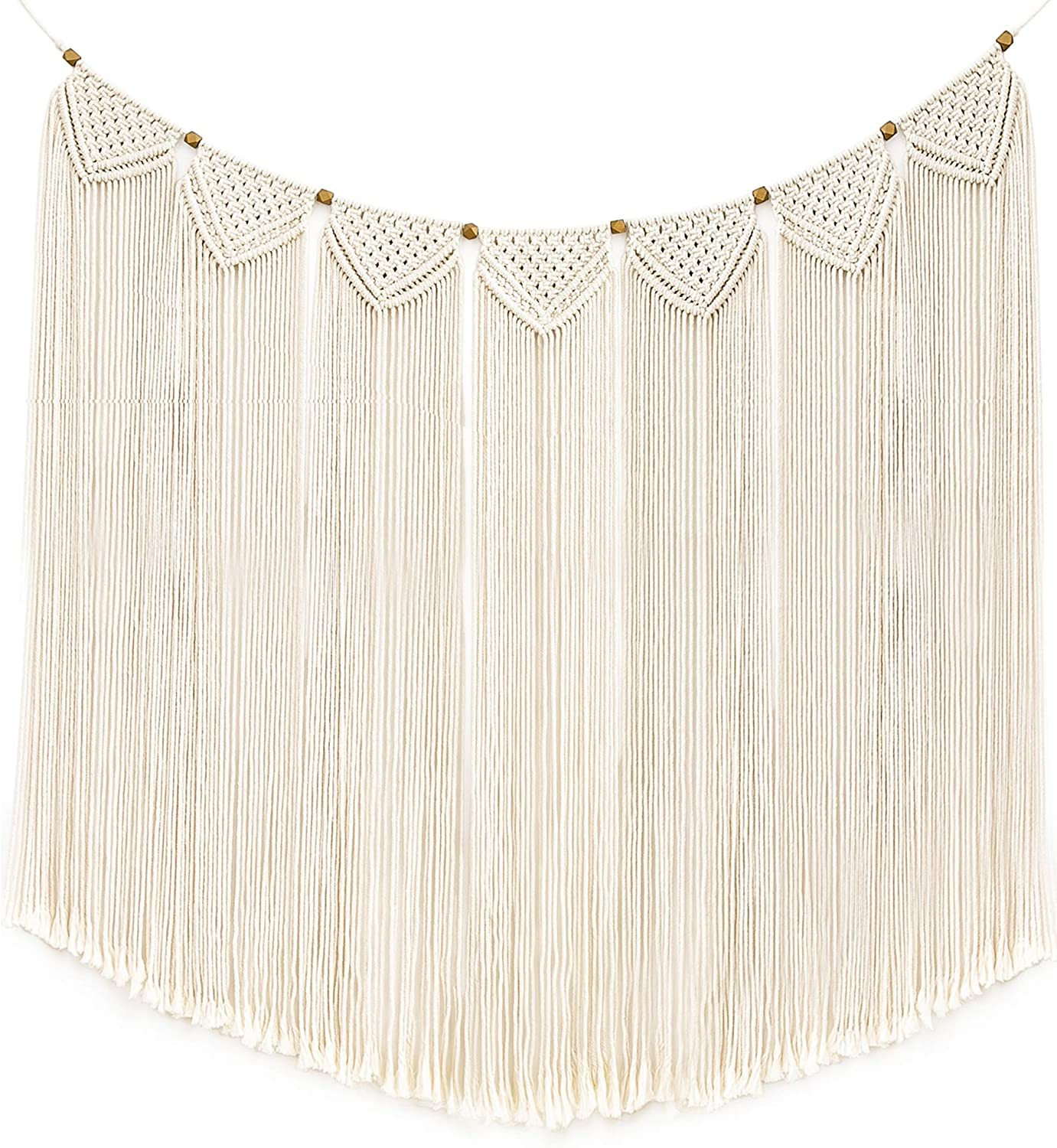 """Mkono Large Macrame Wall Hanging Boho Tapestry Curtain Fringe Woven Bohemian Wall Decor Banner Home Decoration for Apartment Bedroom Living Room Gallery Baby Nursery, 47"""" L X 28"""" W"""