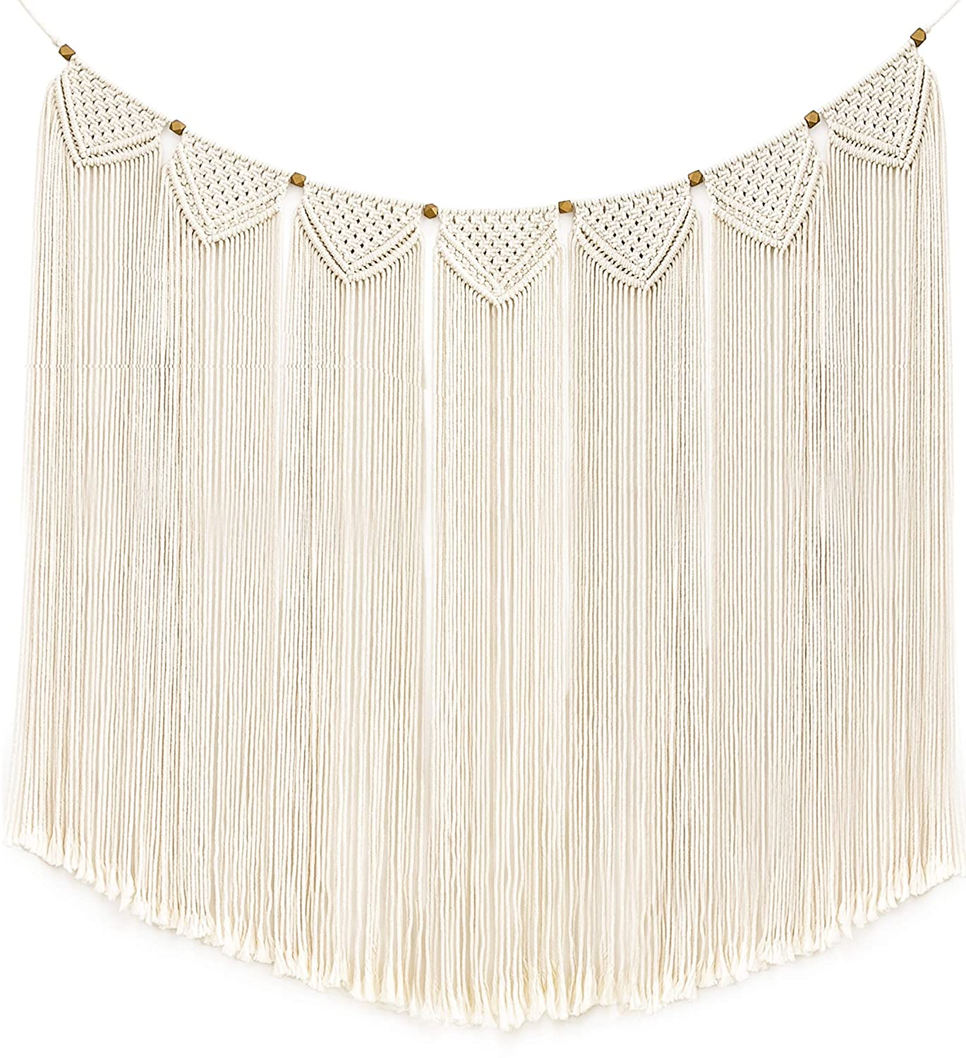 "Mkono Macrame Wall Hanging Curtain Fringe Garland Banner Bohemian Wall Decor Woven Home Decoration for Apartment Bedroom Living Room Gallery Baby Nursery 47""L X 28""W"