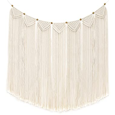 Mkono Macrame Wall Hanging Curtain Fringe Garland Banner Bohemian Wall Decor Woven Home Decoration for Apartment Bedroom Living Room Gallery Baby Nursery 47  L X 28  W