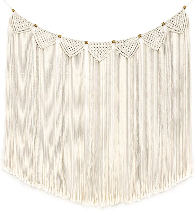 """img buy Mkono Macrame Wall Hanging Curtain Fringe Garland Banner Bohemian Wall Decor Woven Home Decoration for Apartment Bedroom Living Room Gallery Baby Nursery 47"""" L X 28"""" W"""