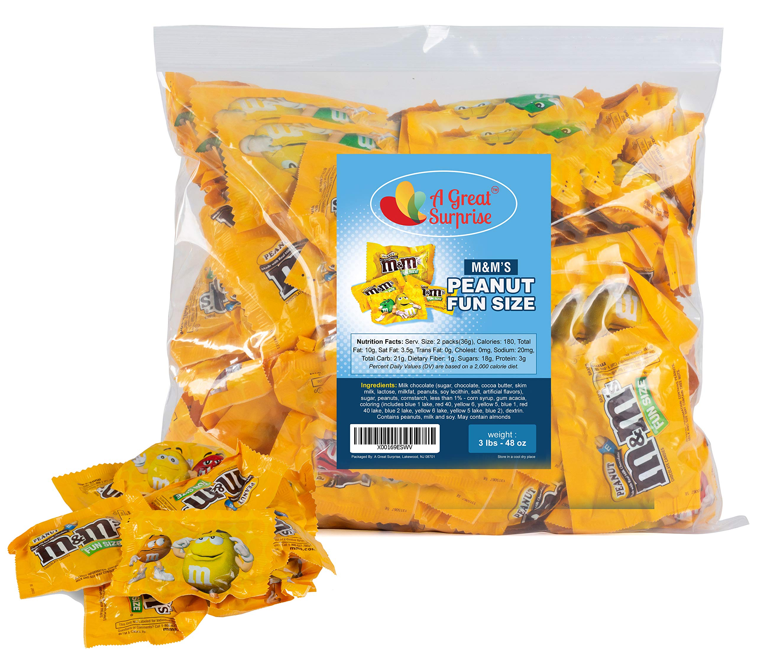 M&Ms Peanut Milk Chocolate Fun Size - Yellow Candy - 3 LB Bulk Candy by A Great Surprise