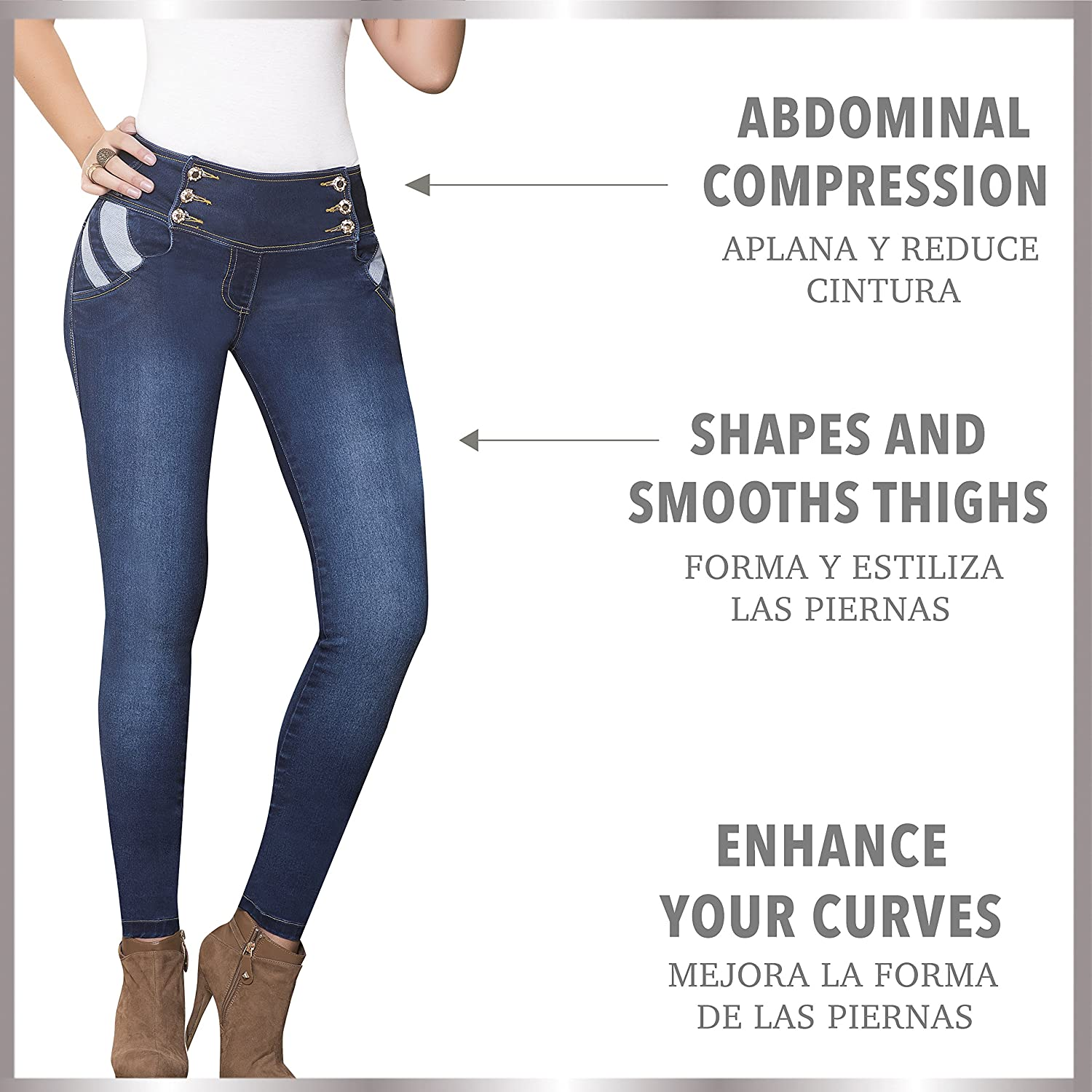 Pantalones Colombianos Levanta Cola de Mujer   Skinny Mid Rise Butt Lifting Jeans for Women Luciana at Amazon Womens Jeans store