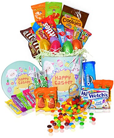 Amazon easter snack gift tin basket 29 count easter candy easter snack gift tin basket 29 count easter candy eggs easter chocolates negle Choice Image
