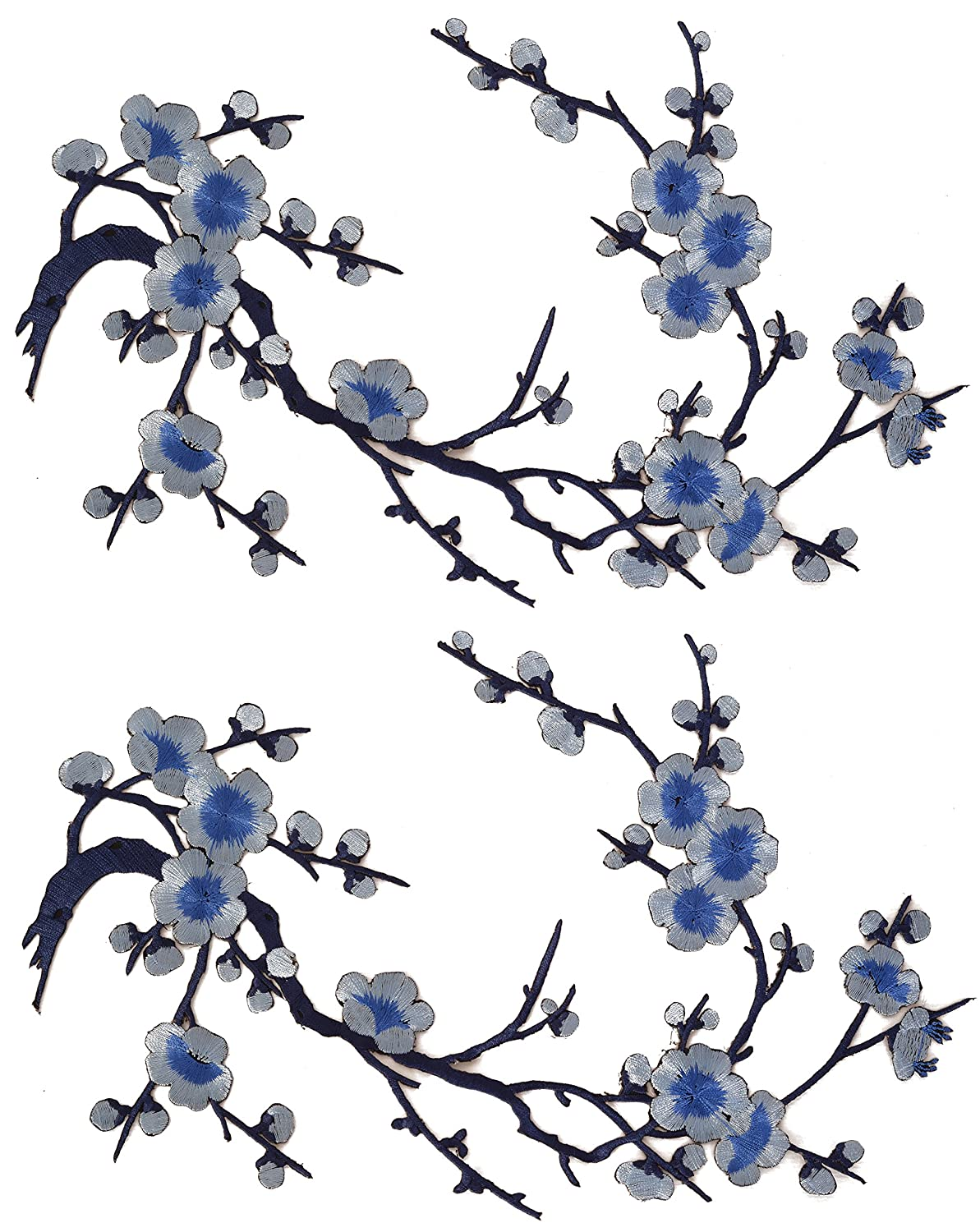 4c974aaa2 Amazon.com: Emmas Two Asian Cherry Blossom Sakura Flower Iron on  Embroidered Appliques Patch Japanese Chinese (Blue)