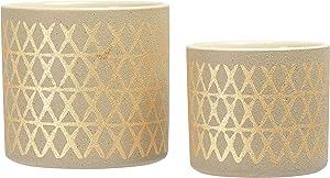 Main + Mesa Stoneware Pots with Gold Design, Set of 2