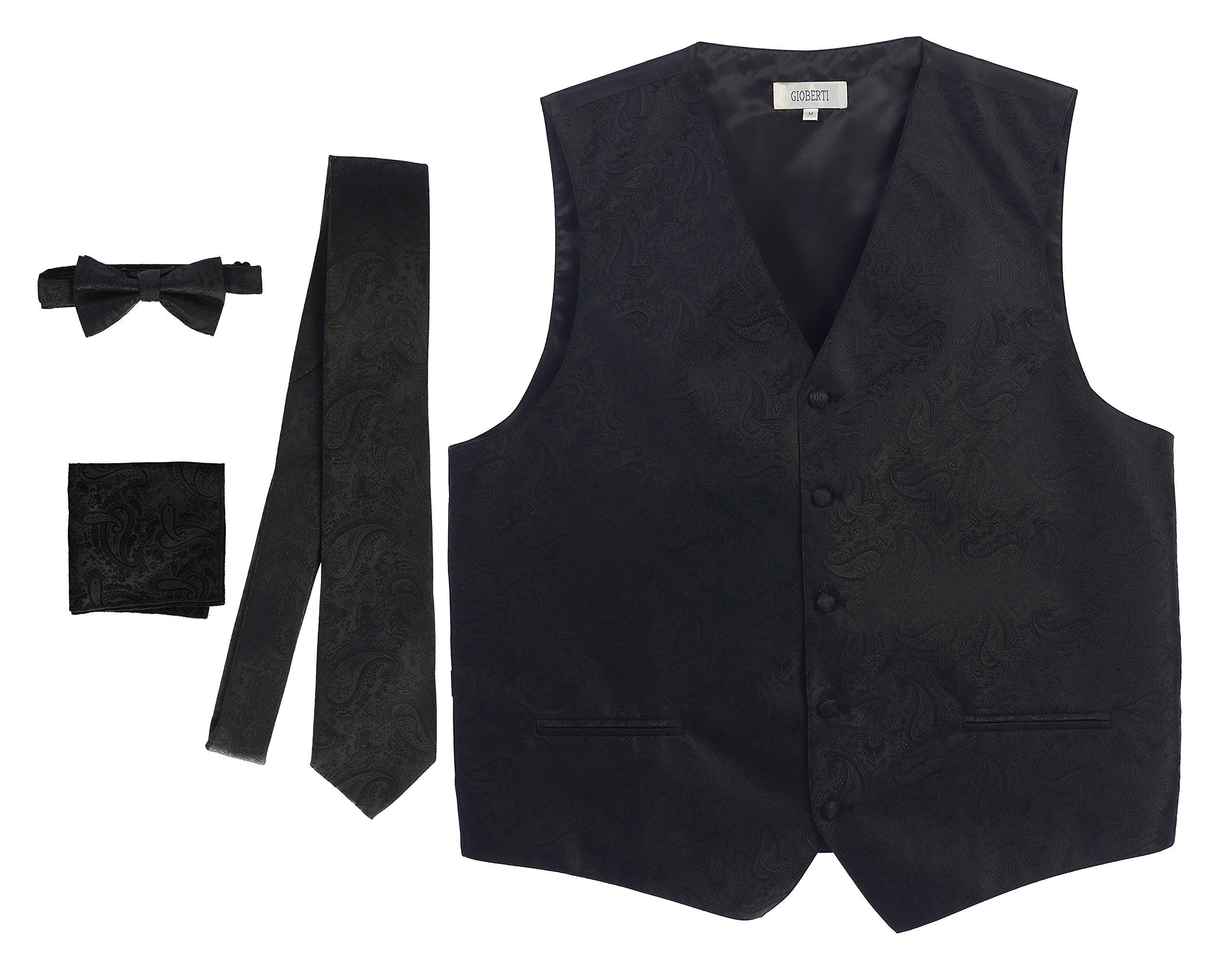 Gioberti Men's 4 Piece Formal Paisley Vest Set, Black, X Large
