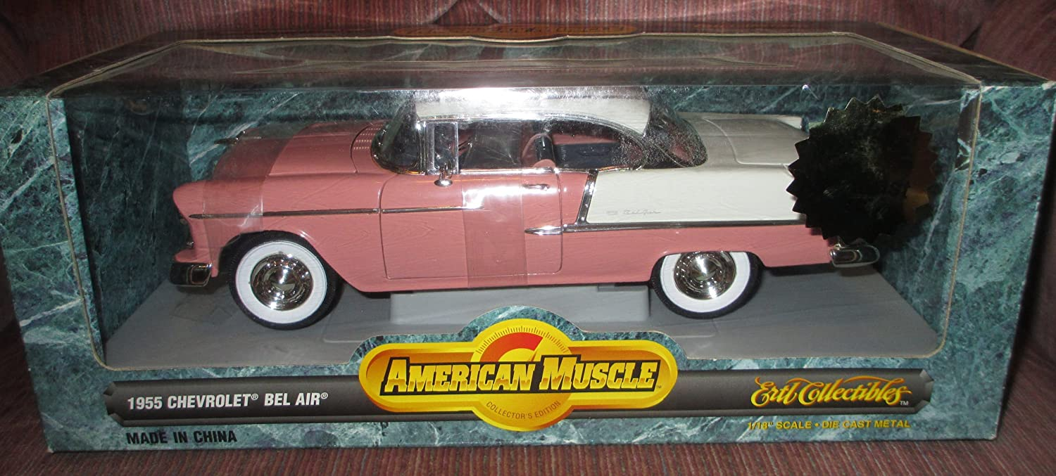 #7941 Ertl American Muscle 1955 Chevrolet Bel Air,Pink and White 1/18 Scale Diecast