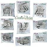 CRÉATION-PERLES Mixte 180 Pinces Embouts Griffes Attache Fermoir pour Bracelets colliers Ruban 9 Tailles Différentes