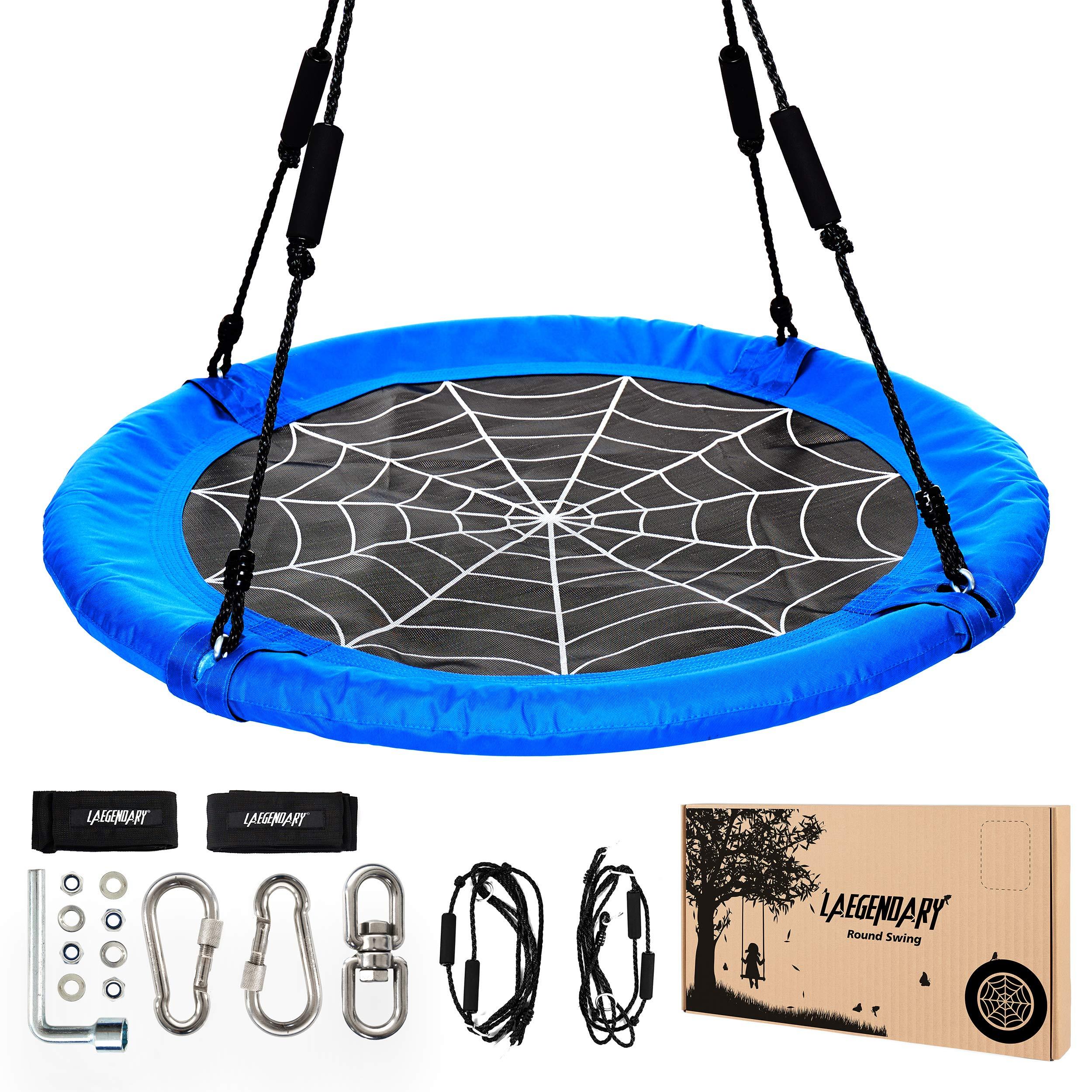 450 Pounds Sensory Web Tire Swings Durable Frame 40 Inch Flying Saucer Tree Swing for Kids 2 Carabiners 1 Swivel Waterproof Yard Swings Set Round Indoor Outdoor Swingset Toys 2 Tree Straps