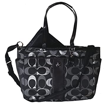 40df63228e26 Amazon.com   Coach Metallic Multifunction Baby Diaper Laptop Travel  Convertible Messenger Shoulder Tote Bag Black   Baby