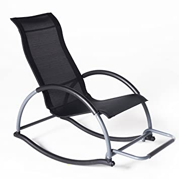 LUCKUP Comfortable Relax Lounge Chair , Outdoor Rocking Chair With A Sturdy  Aluminum Frame (BLACK
