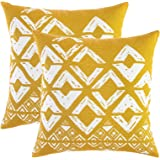 TreeWool, (Pack of 2) Squares Geometric Accent Throw Pillow Covers in Cotton Canvas (16 x 16 Inches; Mustard & White)