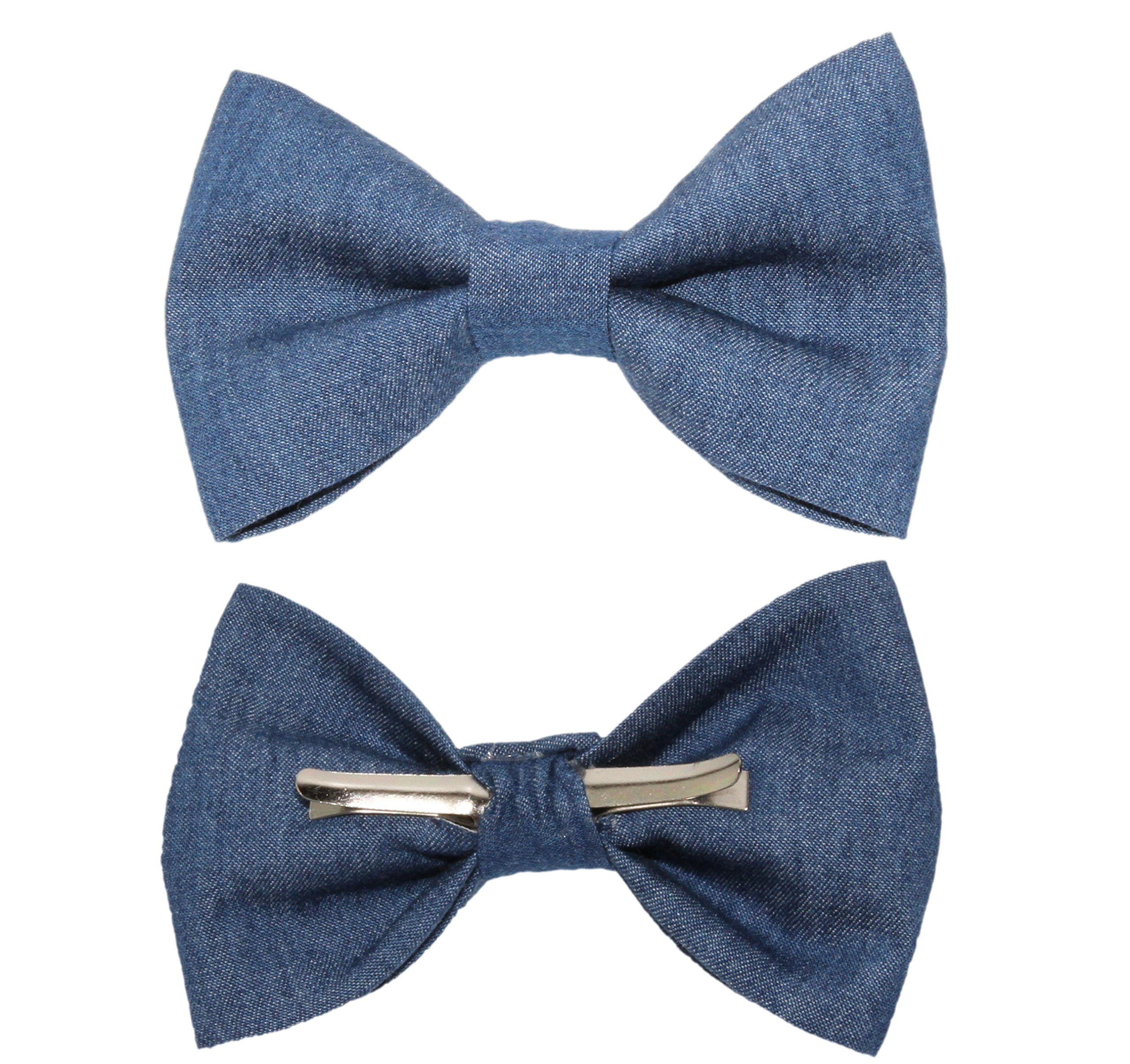 Boys Blue Denim Clip On Cotton Bow Tie Bowtie - Made in USA