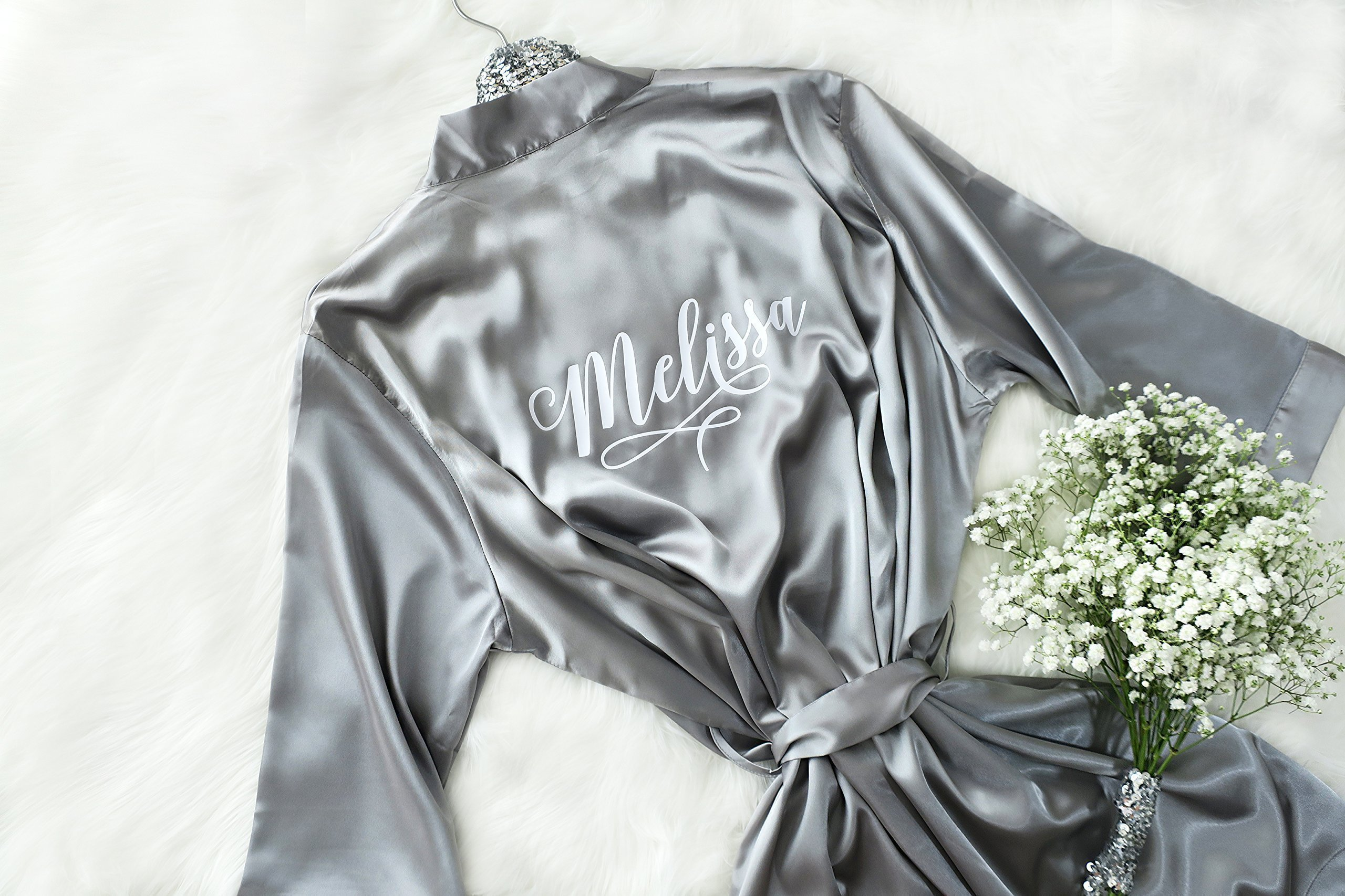 Joy Mabelle Women's robes short silky satin kimono style solid colors with personalized name for bridesmaids and brides