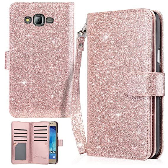 best service 6801f 5a3b7 UrbanDrama Case for Galaxy J7, J7 Wallet Case Glitter Shiny Faux Leather  Magnetic Closure Credit Card Slot Cash Holder Wristlet Protective Case for  ...