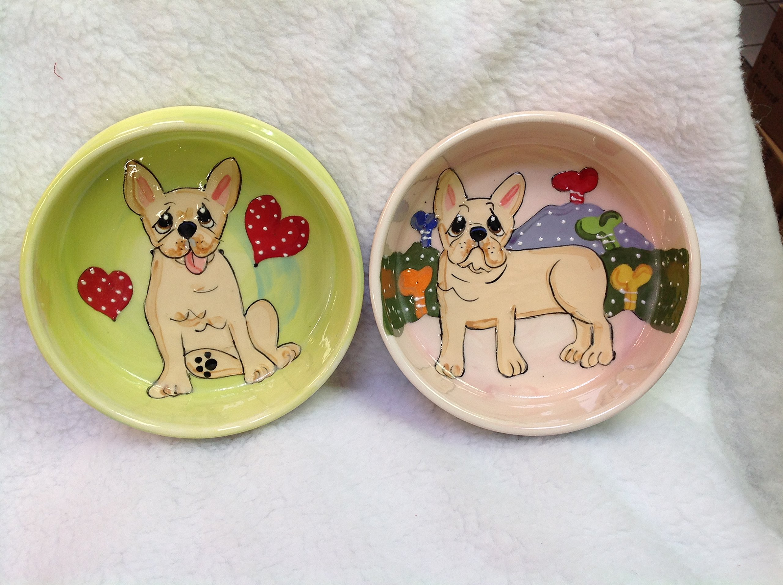 French Bulldog 8''/6'' Pet Bowls for Food/Water, Personalized at no Charge. Signed by Artist, Debby Carman.