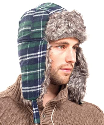 015f5c58 Mens Green, Navy & White Checked Trapper Hat with Fur: Amazon.co.uk:  Clothing