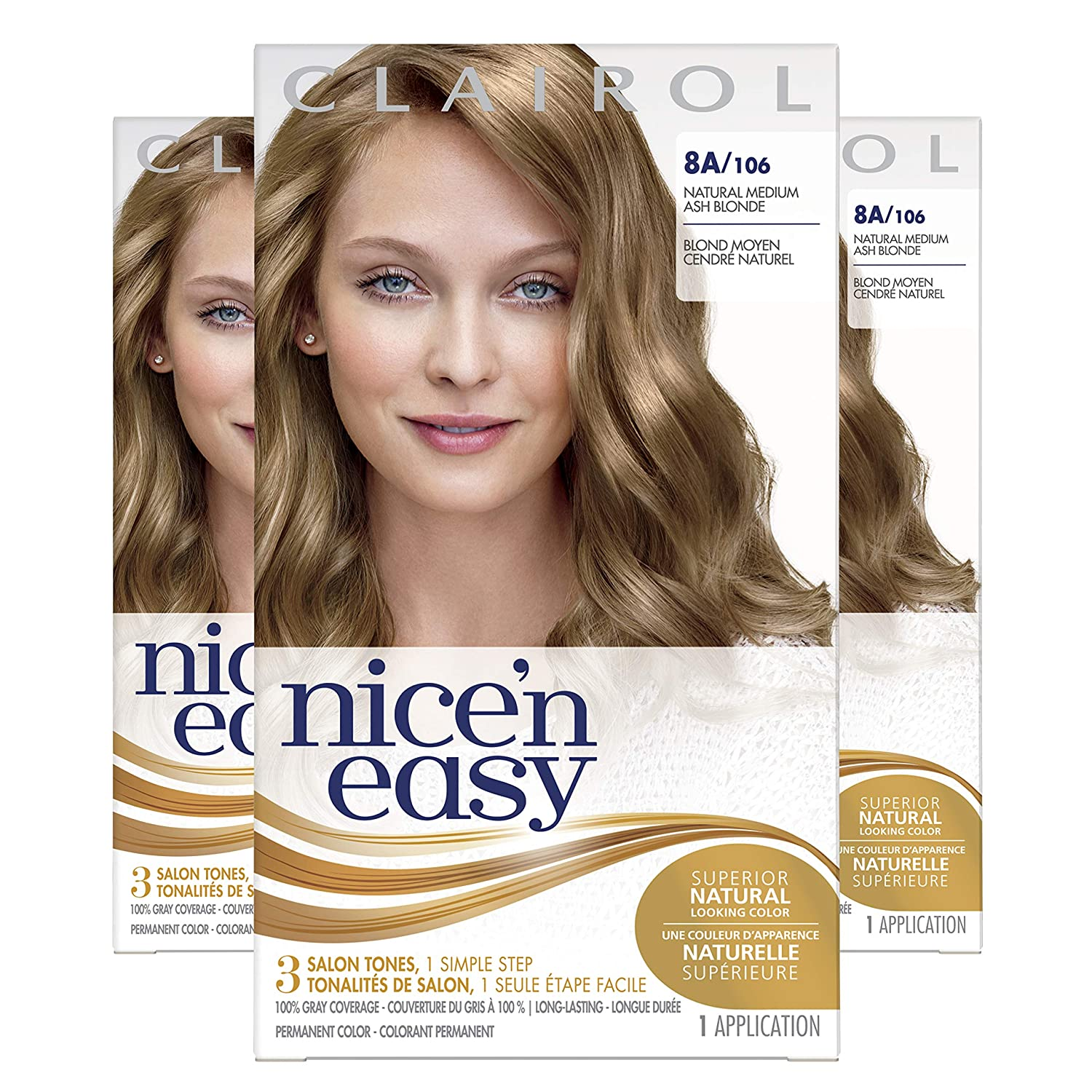 Clairol Nice'n Easy Original Permanent Hair Color, 8A Medium Ash Blonde, 3 Count : Chemical Hair Dyes : Beauty