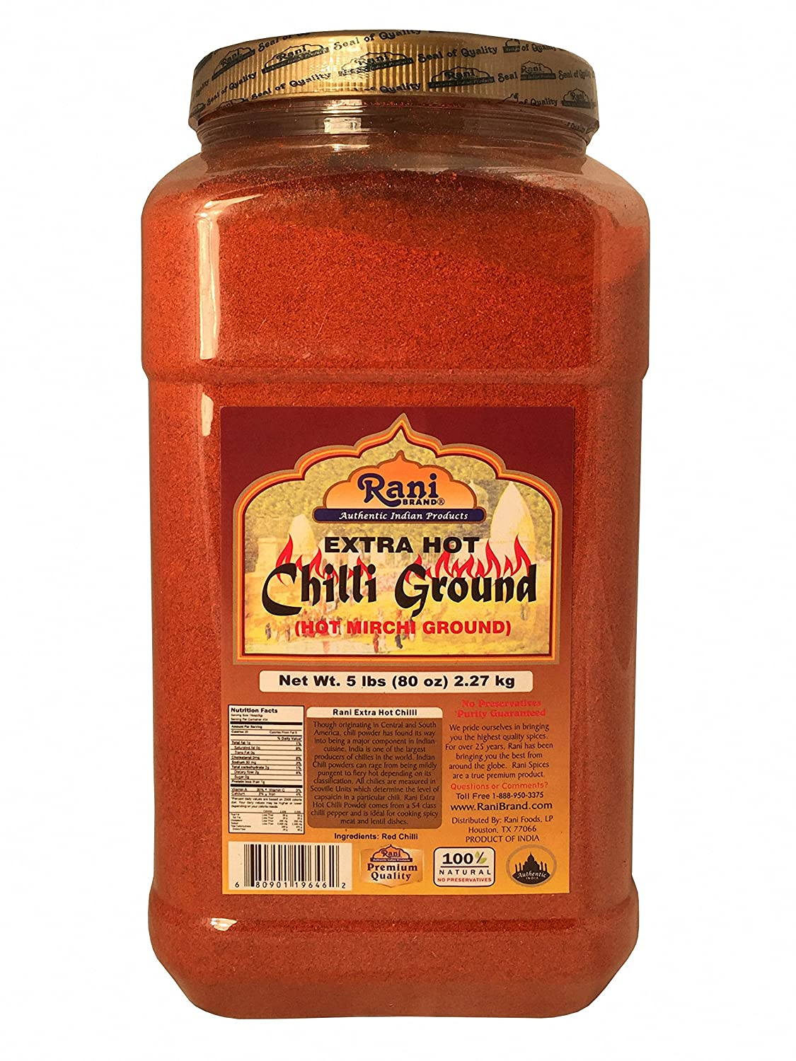 Rani Extra Hot Chilli Powder Indian Spice 5lbs (80oz) Bulk ~ All Natural, No Color added, Gluten Free Ingredients | Vegan | NON-GMO | No Salt or fillers