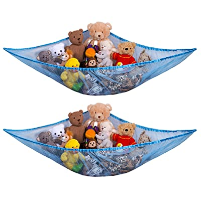 Jumbo Toy Hammock, Blue - Organize Stuffed Animals and Children's Toys with this Mesh Hammock. Great Decor while Neatly Organizing Kid's Toys and Stuffed Animals. Expands to 5.5 feet. (2-Pack): Home & Kitchen